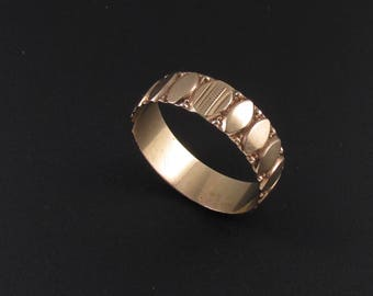 10K Rose Gold Cigar Band Ring, Victorian Ring, 10K Gold Wedding Band, Rose Gold Ring, 1800's Ring