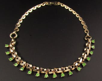 Barclay Rhinestone Necklace, Green Rhinestone Necklace, Gold Necklace, Green Necklace
