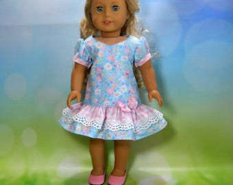 18 inch doll clothes made to fit dolls such as American Girl® , Blue Flower and Pink Gingham Dress, 05-2095