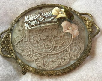 Victorian Vanity Tray ~ Gold Ormolu Tray Round with Doily  ~ Old Dresser Tray Glass ~ Romantic Homes ~ Shabby Chic ~ Gift For Her