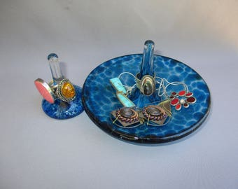 Hand Blown Art Glass Jewelry Tray and Ring Holder -Set of 2, Aquamarine Color.
