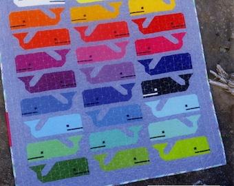 Preppy the Whale Elizabeth Hartman Mini, Child or Picnic Quilt Pattern Piecing