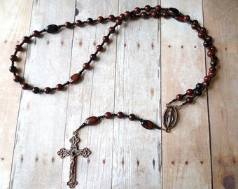 Brown and Black Rosary of Mahogany Obsidian with Copper Center and Crucifix