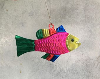 Vintage Mexican tin ornament fish Mexican home Christmas decorations fisherman gift