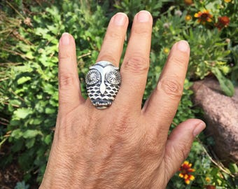 Running Bear 17gm sterling silver owl ring Size 7.5 Women's jewelry
