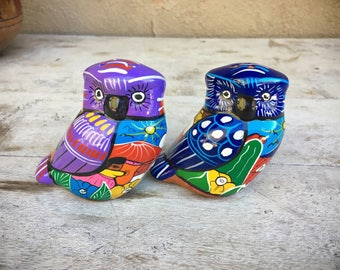Vintage owl salt and pepper shakers made of Mexican pottery Mexican kitchen decor