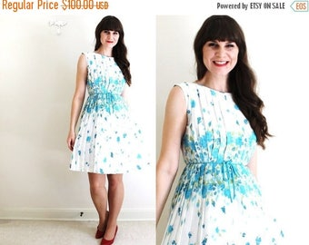ON SALE 50s Dress / 1950s 1960s Dress / 50s Floral Garden Party Dress