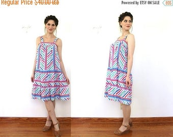 ON SALE Vintage Sundress / 1980s Sun Dress / 1970s 80s Colorful Rainbow Striped Tent Dress