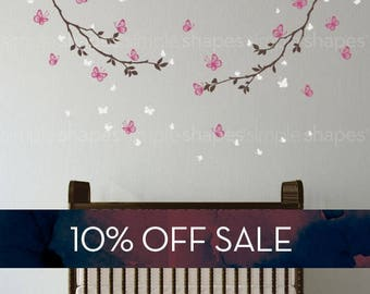 Sale   Butterfly Wall Decal, Butterfly Branches Wall Decal, Crib Wall Decals,  Baby