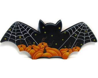 Bat with Pumpkins, Handpainted Wood Plaque, Hand Painted Halloween Decor, Wall Art , Tole Decorative Painting