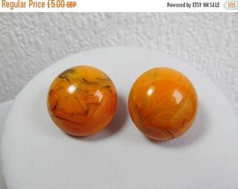 Large Round Orange and Black Marble Efffect Clip On Earrings, Vintage Earrings, 1960s, 1970s, Costume Jewellery,
