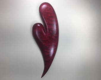 Red heart carved wooden heart wood carving Anniversary present