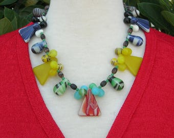"Colorful Old African Bella Glass ""Wedding"" Beads - Triangles & Teardrops, Urban Tribal Chic, Necklace and Earrings by SandraDesigns"
