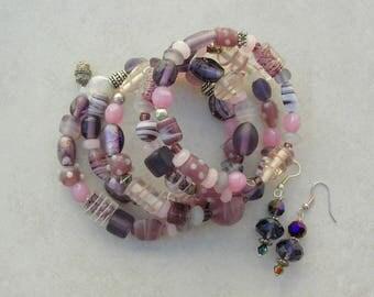Pretty Purples & Pinks Memory Wire Bracelet, Lampwork Glass, Ceramic, Silver, Glass, No Clasp - Free Size, Set by SandraDesigns