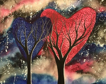 Night Romance - Original watercolour love painting of two heart trees