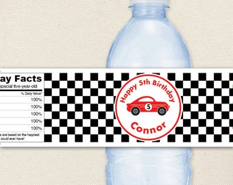 Race Car Party Water Labels - 100% waterproof personalized water bottle labels