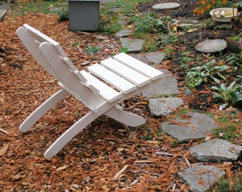 White Stained Cedar Chair for Porch, Patio, Deck and Garden - storable - Custom Outdoor Furniture handcrafted by Laughing Creek