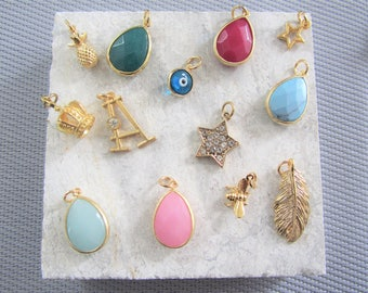 Additional Charm, Add a Charm, Choose Your Own Charms,Customized Charms,Gemstone,Initial,Star,Angel Wings,Anchor,Gold Feather,Pineapple