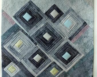 Art quilt, abstract quilt, wall hanging, wall decor- Winter garden