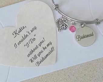 Personalized Bridesmaid Jewelry, Bridesmaid Proposal, Bridesmaid Gifts, Will You Be My Bridesmaid, Personalized Bridesmaid Gift
