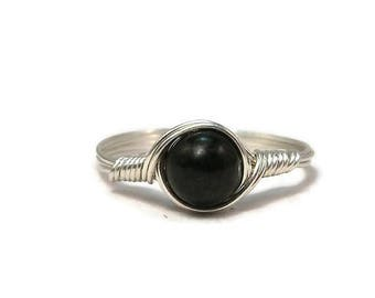 25% Off Sale Shungite Argentium Sterling Silver Wire Wrapped Ring Custom Sized
