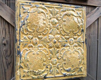 Vintage Ceiling Tin Tile.  FRAMED 2'x2'. Pressed tin.  FABULOUS original paint. Rustic & pretty at the same time.