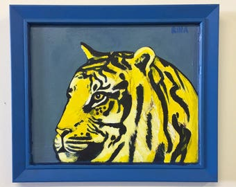 Original Acrylic Painting Of A Tiger titled Peeking Tiger