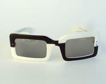 Vintage Sunglasses, Black and White, Geometric Pattern, Large, Rectangular, Mod, c. 1960s, Plastic, France