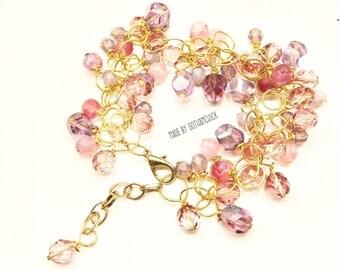 Pretty in Pink and Lavander Czech Pressed Glass Garland Bracelet BR-42