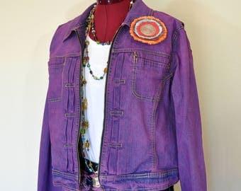 "Violet XL Denim JACKET - Fuchsia Purple Pink Dyed Upcycled Tommy Hilfiger Cropped Denim Trucker Jacket - Adult Women Extra Large (46"" chest)"