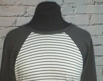 Gray and White Baseball Sleeve Tunic