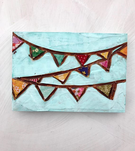SALE! Original Mixed Media Painting Colorful Bunting