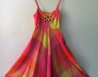 Lovely Pastel Sundress / Vintage Liz Clairborne / Hand Embroidered Flowers / Full Length Sundress / Upcycled Sundress / Summer Wear/ Spring