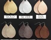 Leather Earrings - Genuine Leather - Metallic Leather - Teardrop Earrings - Joanna Gaines Inspired - You Choose Color