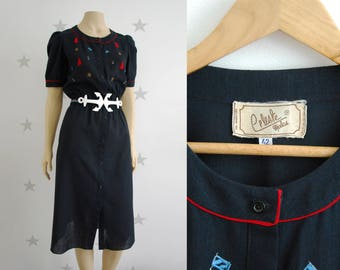 VINTAGE dress, vintage blue navy 70s dress, vintage saylor style dress