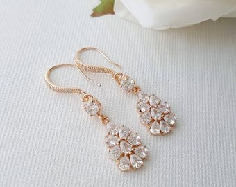 Rose Gold Bridal Earrings, Crystal Dangle Earrings, Wedding Jewelry, Bridesmaid Earrings,  Rose Gold Teardrop Earrings, Julia
