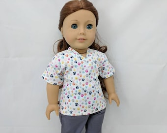 Multicolored Mini Paw Print Scrubs for 18 inch dolls such as American Girl