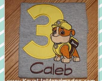 Embroidered Shirt - Birthday Shirt - Custom - Paw Patrol - Rubble