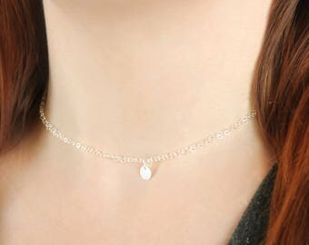 Dainty Choker Necklace, Delicate Chain Choker Necklace, Tiny Disc Charm, Sterling Silver Simple Choker Necklace
