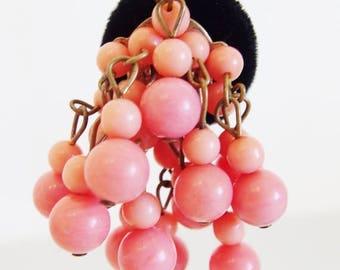 ON SALE Vintage 1960's Pink Lucite Beaded Cluster Drop Earrings