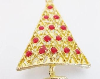 ON SALE ON Sale Vintage Red Enamel Christmas Tree Brooch Pin