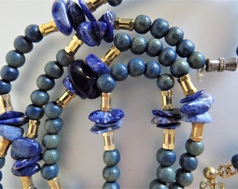 Vintage Lapis Wood and Gold Bead Necklace & Earring Set