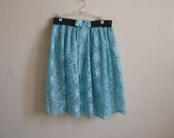 Sheer Lace Skirt, see through skirt, Gathered Layering  High Waisted Midi skirt, Transparent Skirt