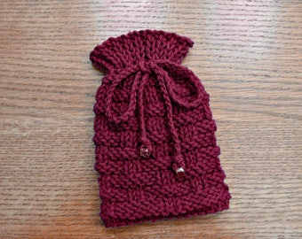 Small Drawstring Pouch, Knitted Bag, Small Knit Gift Bag, Dice Bag, Little Pouch, Amulet Bag, Valentine's Day Gift Bag