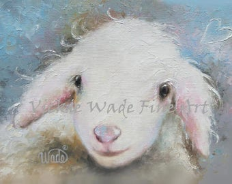 Lamb Painting ORIGINAL Painting, nursery decor, sheep painting, sheep wall art, sheep decor, sheep lover gift, lamb wall decor, Vickie Wade