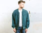 Men's SILK BOMBER Jacket . Oversized Vintage 90s Jacket Zip Up 80s Flight Jacket Blue Grunge Coat Outerwear . size Large