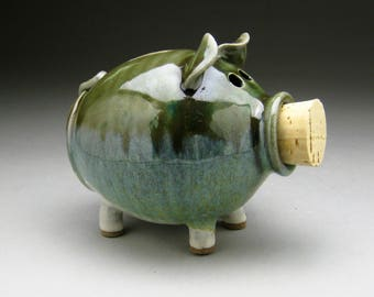 Ceramic Piggy Bank  in Green and White - Ready to Ship