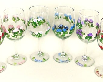 """Personalized Mix and Match Bridesmaid Wine Glasses -""""Bouquet"""" of Assorted Colors Set of 8 - Multi-Color Wine Glass Set  LGBT Rainbow Glasses"""