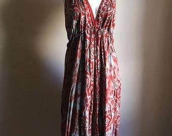 SUMMER SALE 70s Red Batik Cotton Halter Tent Dress // Free Size // Rare