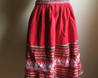 50s 60s Red Guatamalan Cotton Mid Full Skirt